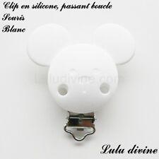 Pince / Clip en silicone, attache tétine, passant boucle, Souris : Blanc