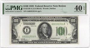 $100 1928 FRN Boston Numerical Fr#2150-A (AA Block) PMG EF40 EPQ