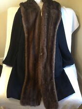 Fabulous Max Mara Black Wool And Mink Trimmed Coat Size 8