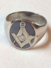 RARE Antique Silver Niello Masonic Mens Ring : Size U / 22