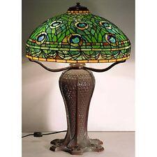 TIFFANY STYLE BRONZE TABLE LAMP 66CM PEACOCK DESIGN GLASS SHADE 46CM FREE BULBS
