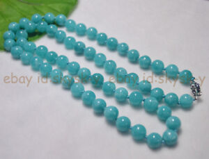 """AAA 10mm Natural Aquamarine Blue Gemstone Round Beads Necklaces 16-36"""" inches"""