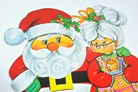 Vintage Christmas Santa & Mrs Claus Die Cut Wall Decoration Kitsch ADORABLE