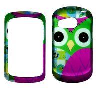 Green Pink Owl For  Pantech Swift P6020 Slider Rubberized feel Case Cover bv