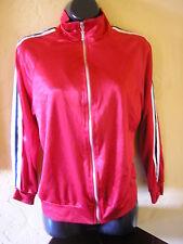 vintage 1990s retro red satin track jacket black white stripes size small medium