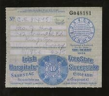 HORSE RACING IRISH FREE STATE HOSPITALS SWEEPSTAKE 1934 DERBY TICKET...G.KING