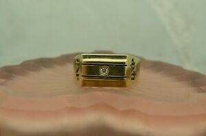 10K YELLOW GOLD FLAT FACED DXP RING BAND W/ DIAMOND SIZE 12.5 #X10-2233