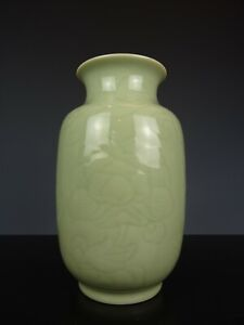 Very Nice Chinese Porcelain Celadon Vase-Flowers-Ca 1900.