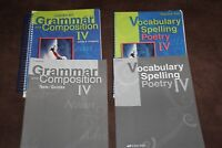 Abeka book Vocabulary, spelling,& poetry lV & Grammar &Comp. lV Set (used)
