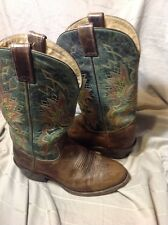 Cowboy Boots Roper Distressed Double H - Size 8.5 D Brown / Green