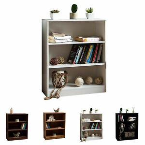Cambridge Bookcase 3 Tier Low Shelf Display Wood Storage Stand Furniture Unit
