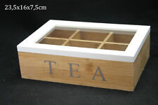 Schabby Chic Style Bamboo Wood Tea Storage Box 6 Compartments with Lid