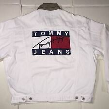 Vintage Tommy Hilfiger Jeans Denim Jacket Sailing Spell Out Big Logo RARE M VTG