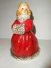Vtg Christmas Goebel Angel Girl Bell Red Long Coat Muff Blonde- W Germany '79