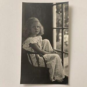 Vintage Fine Art Gelatin Photograph Little Girl By Window Art Deco HR Cremer