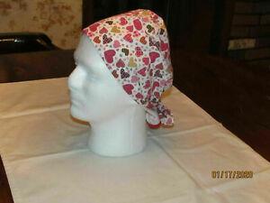 Handmade Hearts on White Background Valentine Scrub Hats