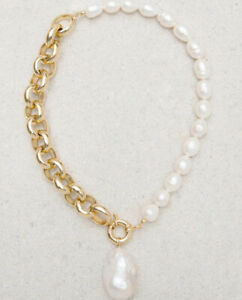 Natural white necklace baroque natural pearl 14k filled gold chain necklace