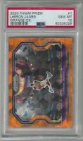 2020-21 Panini Prizm Basketball Lebron James 1 Orange Cracked Ice Lakers PSA 10