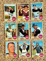Lot of 9 1968 Topps Pittsburgh PIRATES vintage cards, Don CLENDENON, Maury WILLS