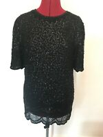 Vintage Black Sequin Top Tunic Size 12 Sparkly Beaded Christmas Long Length Top