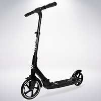 EXOOTER M7BK Manual Adult Kick Scooter With Dual Shocks And Big Wheels In Black.