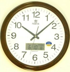 19 inch wall clock with LCD display of day, date & indoor temperature (PW0532JKS