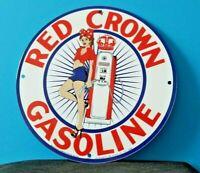 VINTAGE RED CROWN GASOLINE PORCELAIN USA GLOBE PIN UP GIRL SERVICE STATION SIGN