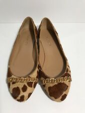 Talbots Womens Faux Pony Hair Leather Leopard Animal Print Ballet Flats Sz 7.5B