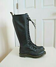NEW Dr. Martens 1B60 20 Eye Zip Lace Up Combat Boots Black Knee sz 7 US 38