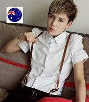 Men Women Clip-on Sythetic Leather Pants Party Braces Suspender Belt for him