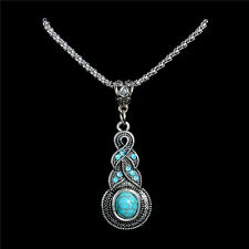 New Women's Tibetan Silver Turquoise Necklace Drop Pendant Jewellery Gift Bag