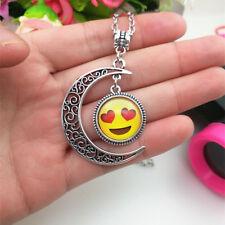 Emoji face anthomaniac Emoticon moon Cabochon Glass chain pendant necklace*