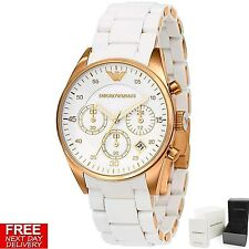 NEW Emporio Armani AR5920 Womens rose gold White Chronograph watch