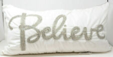 Beaded Believe Oblong Throw Pillow in White/Silver