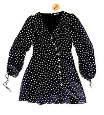 NWT ANTHROPOLOGIE BLACK/CREAM PRINT V-NECK LONG SLEEVES DRESS SMALL