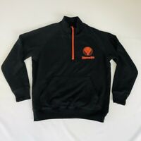 Jagermeister Mens Sweater Pullover  1/4 Zip Black Orange Size Large Spirits 24C