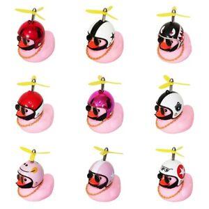 Car Dashboard LED Rubber Pink Duck Toy W/ Propeller Helmet Car Ornament Decor
