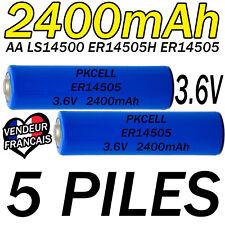 5 PILES ACCUS LITHIUM 3.6V AA ER14505 LS14500 ER14505H Li-socl2 2400Mah BATTERY