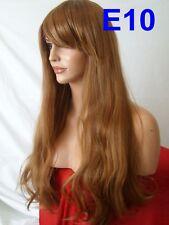 Auburn Marrón Peluca Recta Natural Barato peluca de cabello Largo Ondulado Jengibre Damas E10