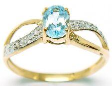 LOVELY 9KT YELLOW GOLD BLUE TOPAZ & DIAMOND RING  SIZE 7   R976