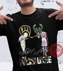 Milwaukee Brewers VS Milwaukee Bucks Champi0ns Signatures Shirt Black Cotton Tee