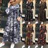 ZANZEA UK Women Long Sleeve Retro Floral Printed Abaya Muslim Kaftan Baggy Dress