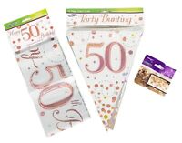 50th Birthday Decoration Kit Banner Bunting Confetti Rose Gold Him Her Men Women