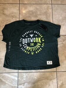 Women's Under Armour Project Rock Green Shirt- size XL- MSRP $35- NWT