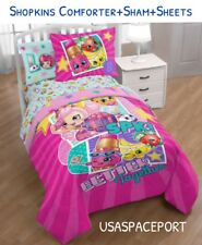 5piece SHOPKINS Love Twin-Single COMFORTER+Sham+SHEETS SET Bed in a Bag Room Toy
