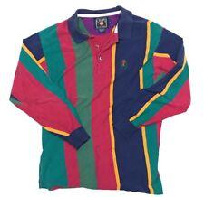 Vintage Chaps Ralph Lauren Mens Long Sleeve Polo Shirt Multi Color Block Stripe