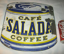 ANTIQUE GROCERY SALADA COFFEE CAN PORCELAIN ADVERTISING CAFE FOOD TEA ART SIGN