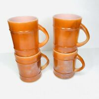 RARE Set of 4 Anchor Hocking FIRE KING Orange Cup Mugs Made In USA D Handle