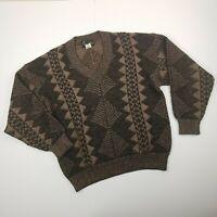 Vintage 80s Gian Alberto Retro Geometric Wool blend Sweater Italy Medium Brown