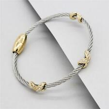 MAGNETIC Bangle BRACELET Elegant FASHION Delicate Cable Wire CZ Crystal JEWELRY